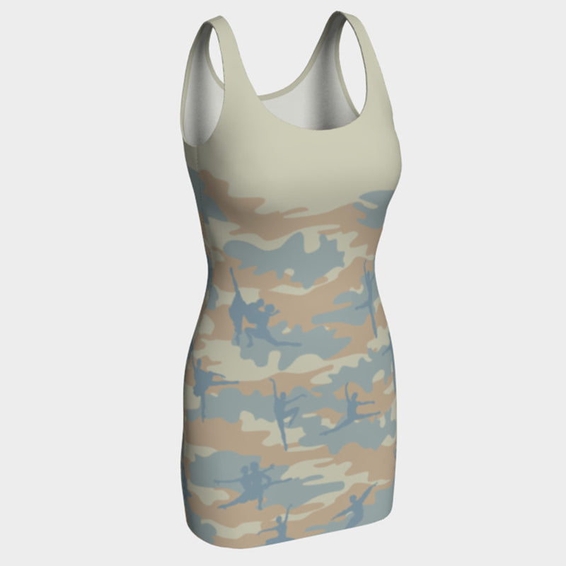 BodyCon Dress in Ballet pattern of beige, pale blue and peach
