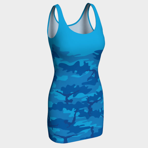 BodyCon Dress in Gymnastics pattern of blues. Front view.