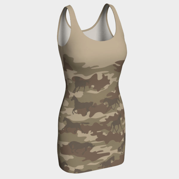 BodyCon Camo Dress | Horses | Brown - Mask Brand Camo Camouflage Design Clothing, Bags and Accessories