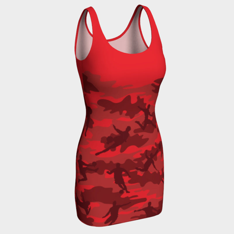 Tank Dresses in reds and black. Front view of our Soccer Camo pattern.