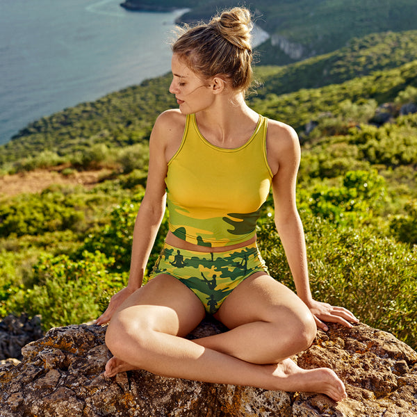 Crop Top in tropical greens. Paired with Yoga Booty Shorts. Model shot.