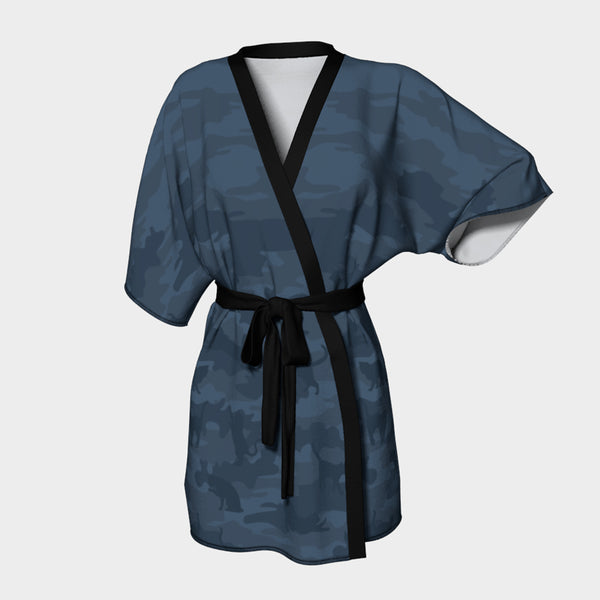 Kimono Robes for Women in shades of gray. Front view of Cats Camo pattern.