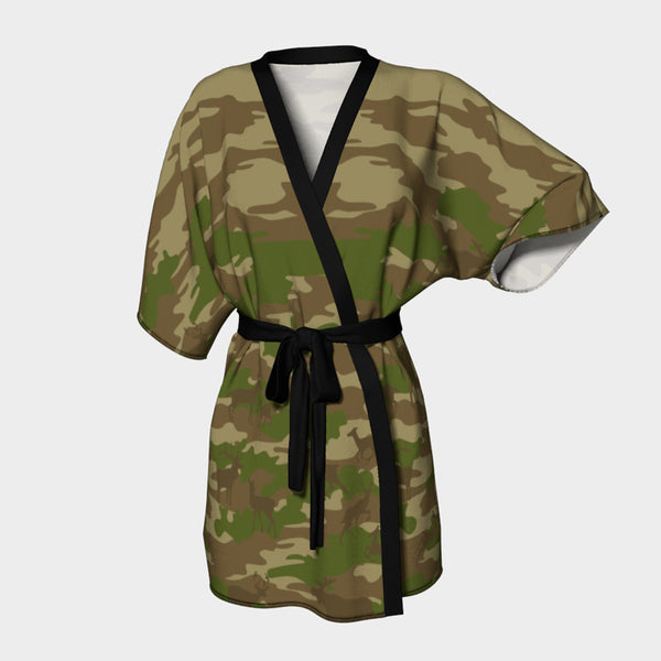 Kimono Robe, Hunter pattern, in browns and green.  Front view.