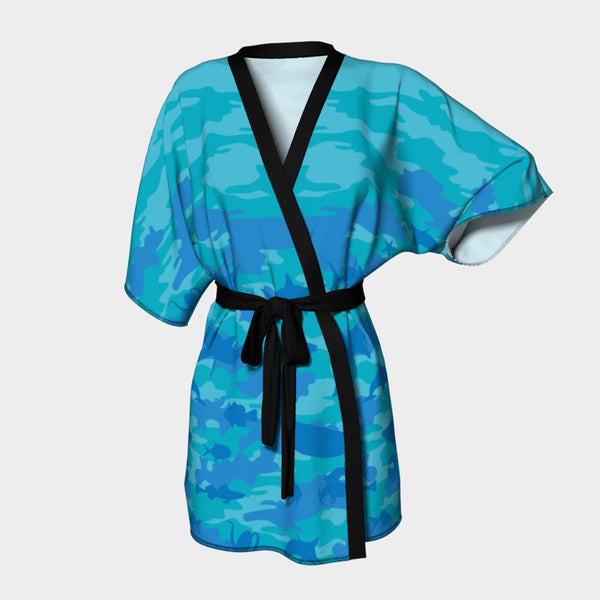 Kimono Robe, Ocean pattern, in aquas and blues.  Front view.