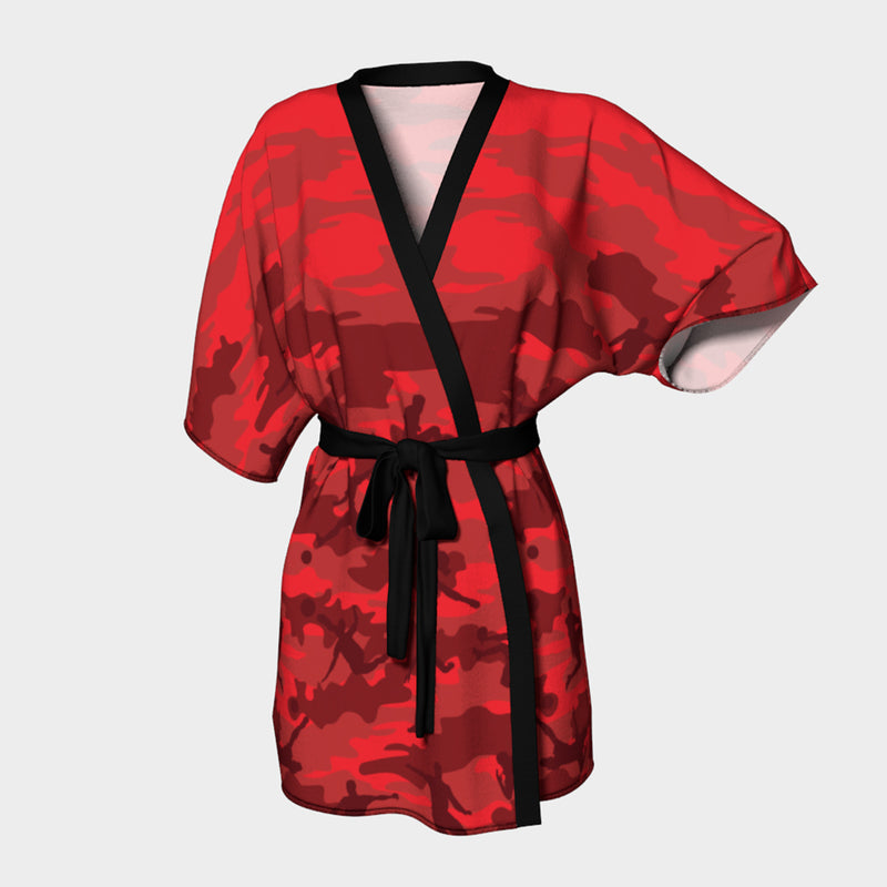 Kimono Robes for Women in reds and black. Front view of Soccer Camo pattern.