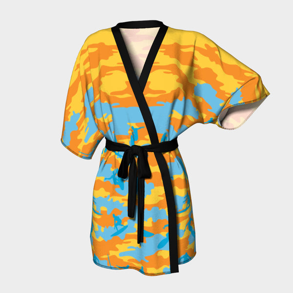 Kimono Robe, Surf pattern, in yellow, orange, and aqua. Front view.