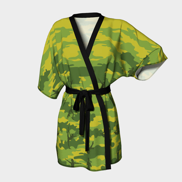 Kimono Robe, Yoga pattern, in tropical greens. Front view.