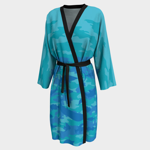 Long Robes for Women in  blues and aquas. Front view of Ocean Camo.
