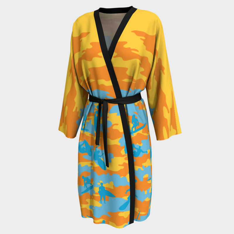 Peignoir Robe, Surf pattern, yellow, orange and aqua. Front view.