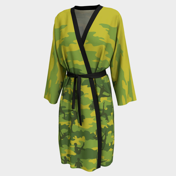 Long Robes for Women in tropical greens. This is front view of the Yoga Camo peignoir.