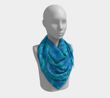 Ocean Camo Scarf | Square | In blues and aquas. This mannikin is wearing the 36x36 inch size scarf.