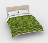 Duvet Cover in Yoga Camo, in  greens, for queen size bed.