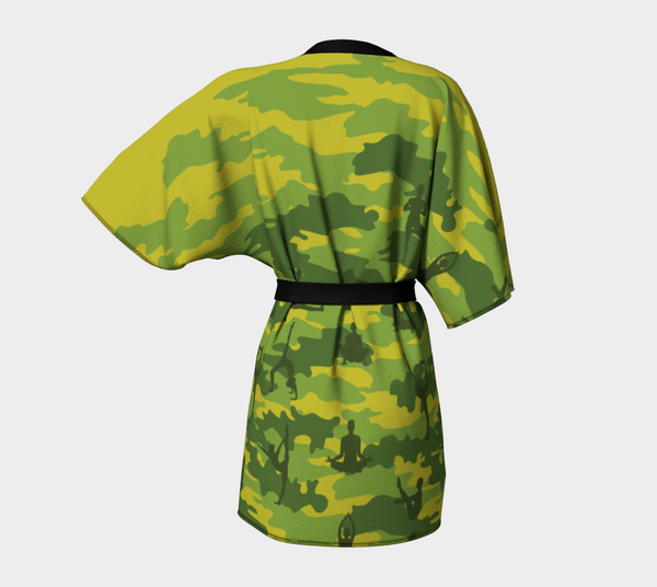Kimono Robe, Yoga pattern, in tropical greens. Back view.