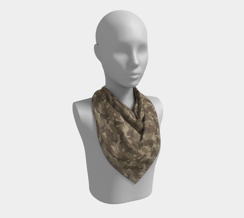 Dogs Camo Scarf | Square | In browns. This mannikin is wearing the 26x26 inch size scarf.