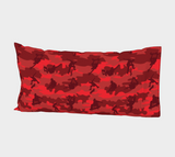 "Skateboard Camo Pillow Case in reds. King size 37""x21."""