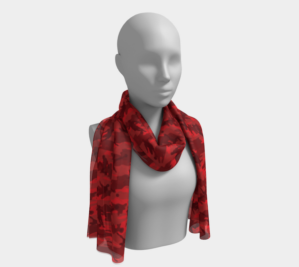 Soccer Camo Scarf long. In reds. Shown on mannikin.