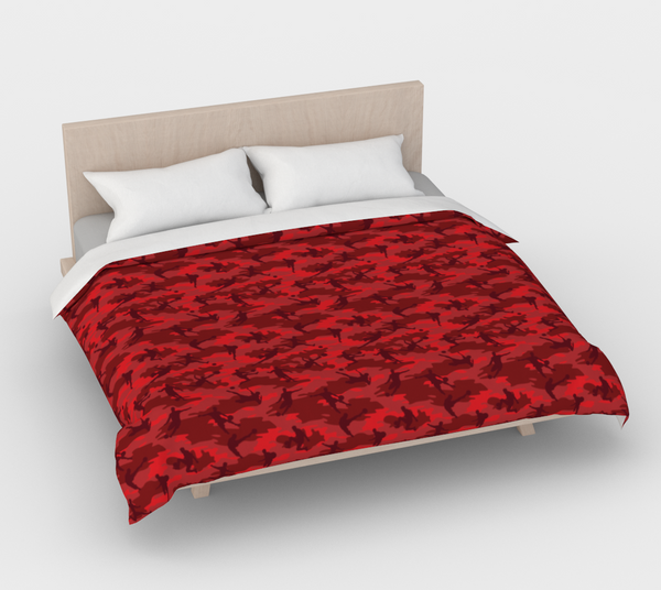 Duvet Cover in Soccer Camo, in reds, for king size bed.