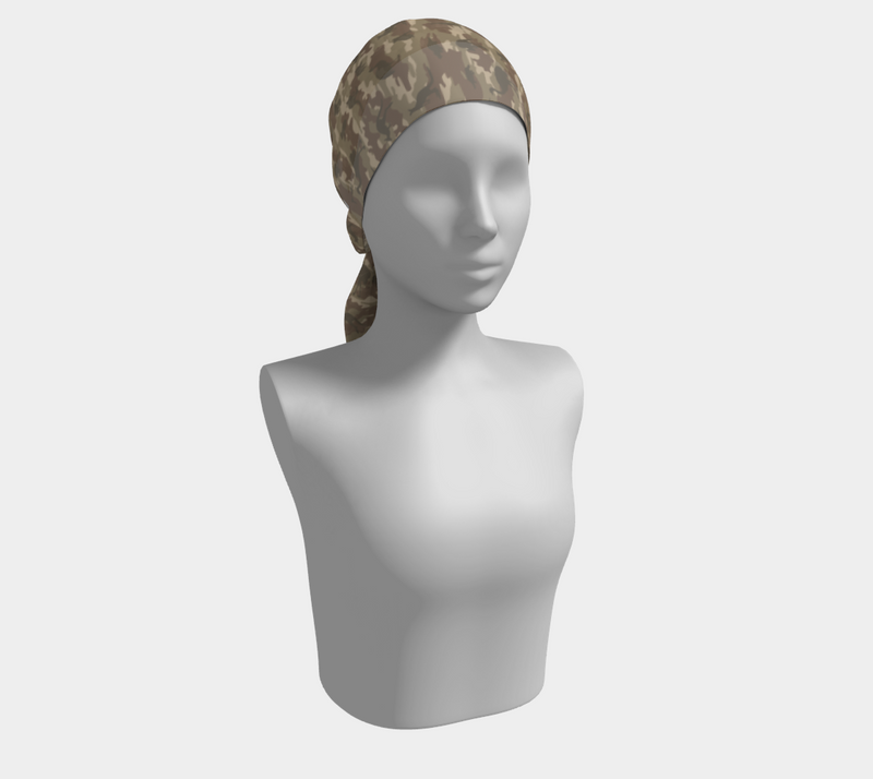 Scarves for Women. Australia Camo Scarf long. In browns. Shown as head scarf on mannikin.