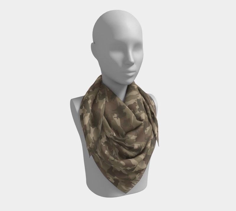 Dogs Camo Scarf | Square | In browns. This mannikin is wearing the 36x36 inch size scarf.