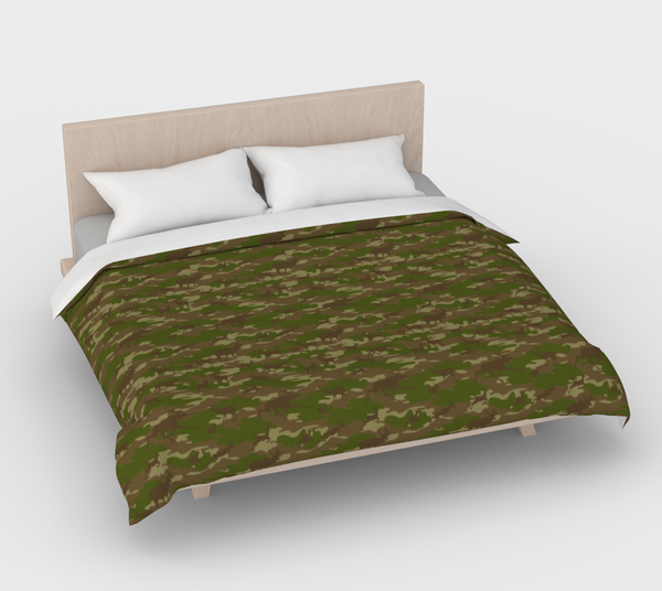 Duvet Cover in Hunter Camo, in green and browns, for king size bed.