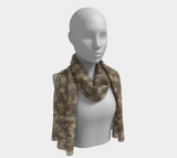 Scarves for Women. Australia Scarf long. In browns. Seen on mannikin.