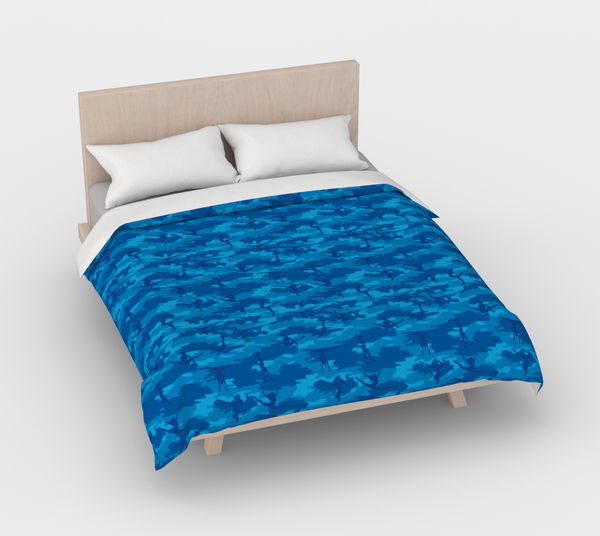 Duvet Cover in Gymnastic Camo, in blues, for queen size bed.