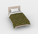 Duvet Cover in Hunter Camo, in green and browns, for twin size bed.