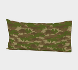 "Dinosaurs Camo Pillow Case in browns and green. King size 37""x21."""