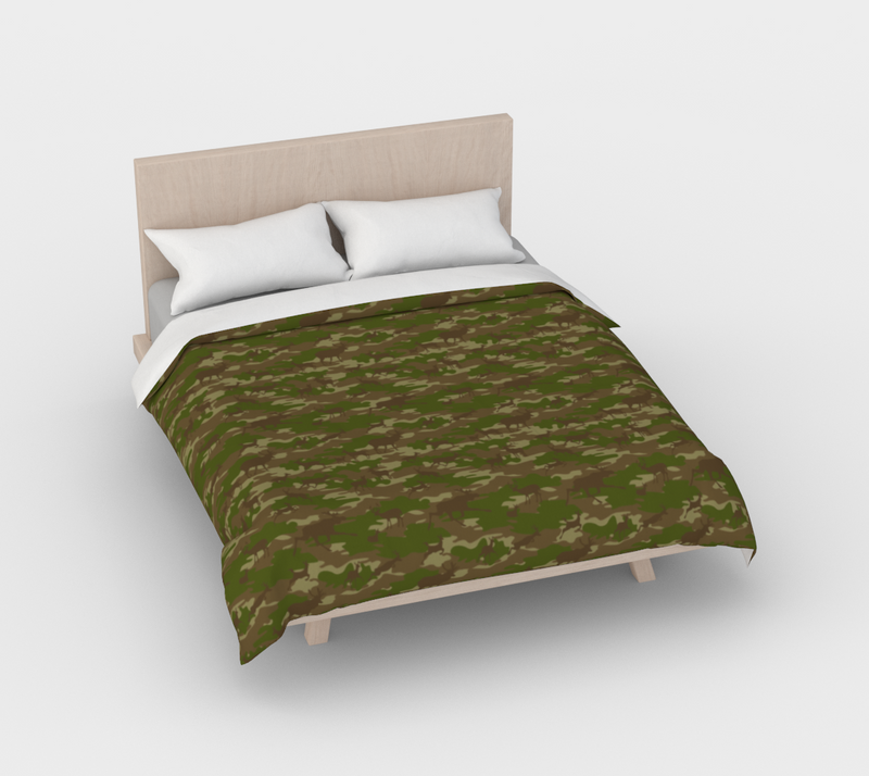 Duvet Cover in Hunter Camo, in green and browns, for full/double size bed.