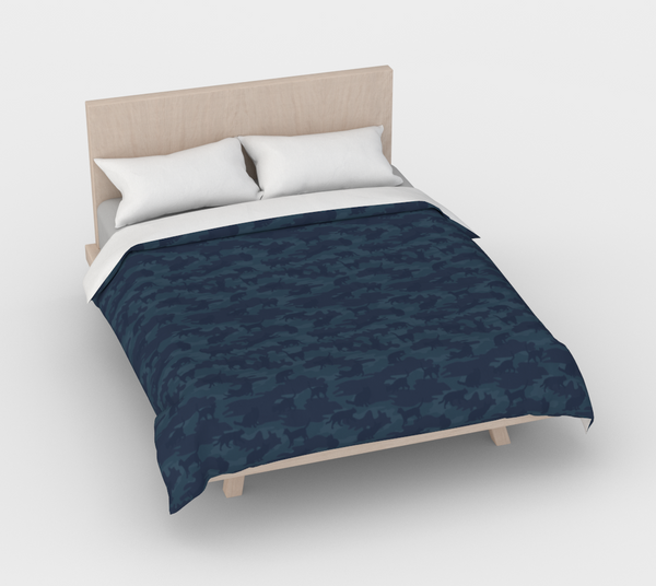 Duvet Cover in Cats Camo, in dark grays, for queen size bed.