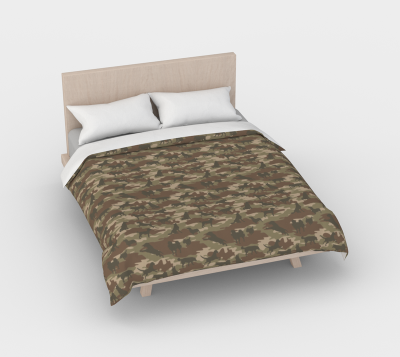 Duvet Cover in Dogs Camo, in browns, for full/double size bed.