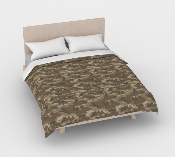 Duvet Cover in Dogs Camo, in browns, for queen size bed.