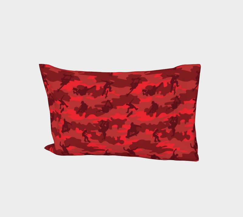 "Skateboard Camo Pillow Case in reds. Standard size 27""x21."""