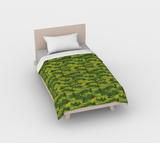 Duvet Cover in Yoga Camo, in greens, for twin size bed.