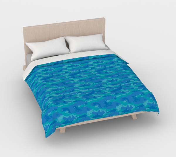 Duvet Cover in Ocean Camo, in blues and aquas, for queen size bed.