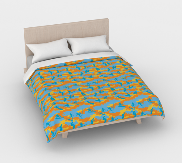 Duvet Cover in Surf Camo, in yellow, orange and aqua, for queen size bed.