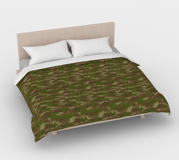 Duvet Cover in Dinosaur Camo, green and browns, for king size bed.
