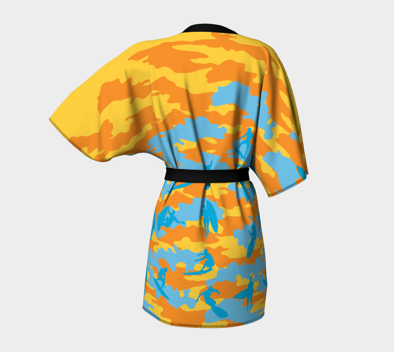 Kimono Robe, Surf pattern, in yellow, orange, and aqua. Back view.