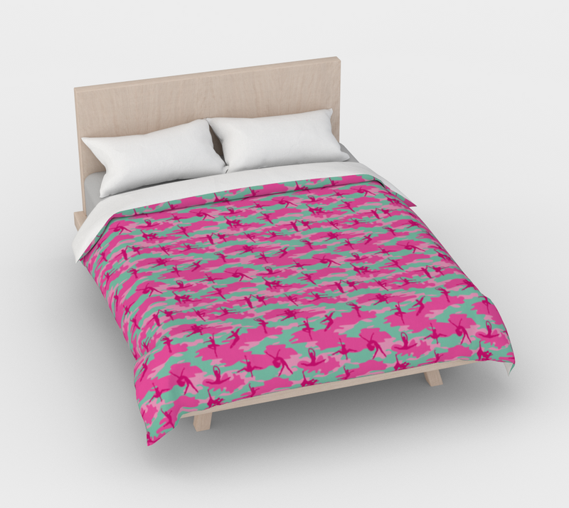 Duvet Cover in Ballet Camo, in pinks and pale blue, for queen size bed.