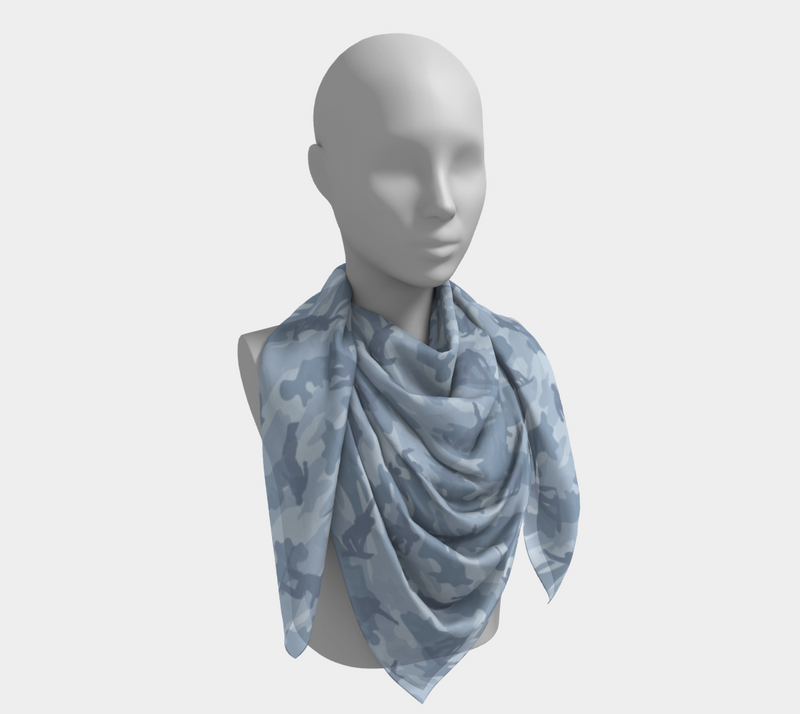 Snowboard Camo Scarf | Square | In light grays. This mannikin is wearing the 50x50 inch size scarf. It is large enough to be a tablecloth, or a make-shift dress.