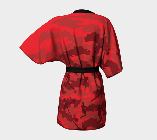 Kimono Robe, Soccer pattern, in reds and black. Back view.
