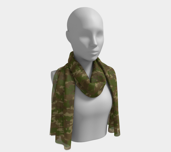 Hunter Camo Scarf long. In green and browns. Shown on mannikin.