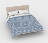 Duvet Cover in Snowboard Camo, in light grays, for queen size bed.