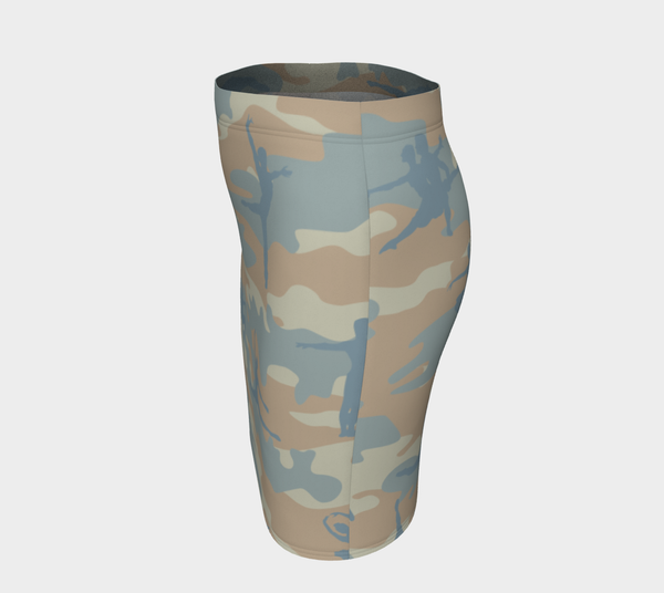 Pencil Skirt | Ballet Camo | In beige, peach, and pale blue. Left side view.