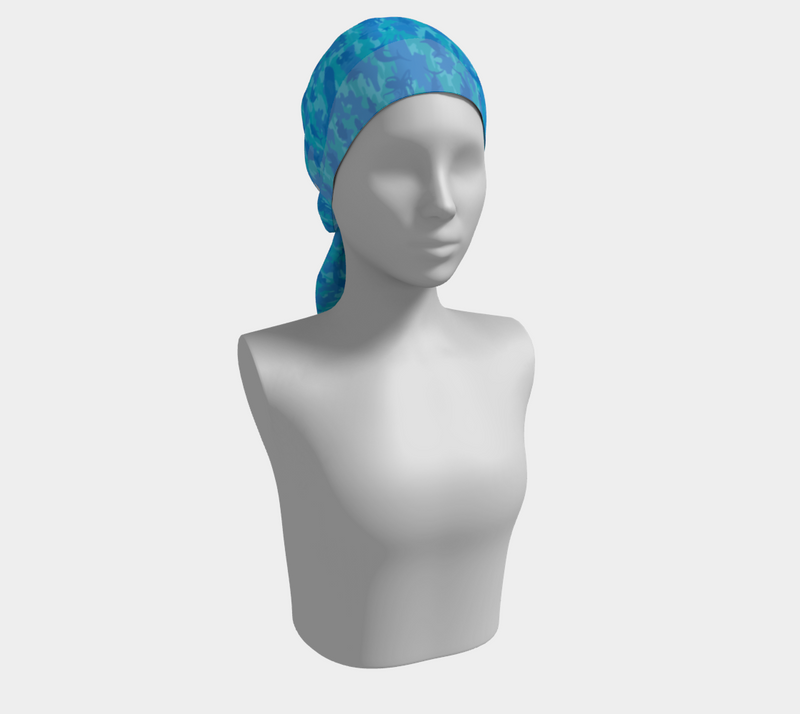 Ocean Camo Scarf long. In blues an aquas. Shown on mannikin as headscarf.