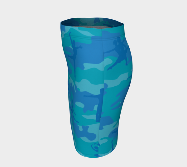 Pencil Skirt | Ballet 2 | Blue and Aquas - Mask Brand Camo Camouflage Design Clothing, Bags and Accessories