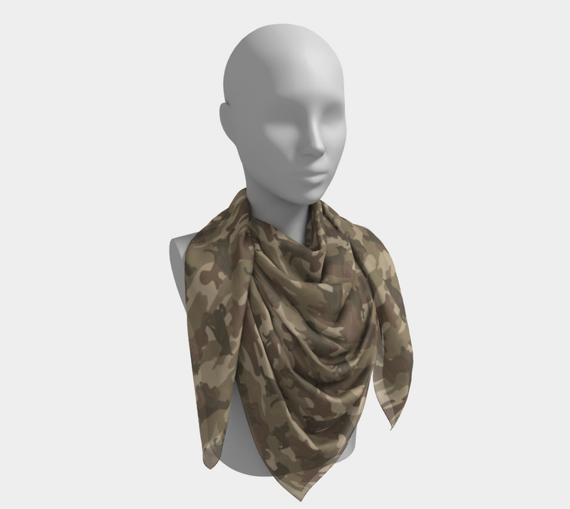 Dogs Camo Scarf | Square | In browns. This mannikin is wearing the 50x50 inch size scarf. It is large enough to be a tablecloth, or a make-shift dress.
