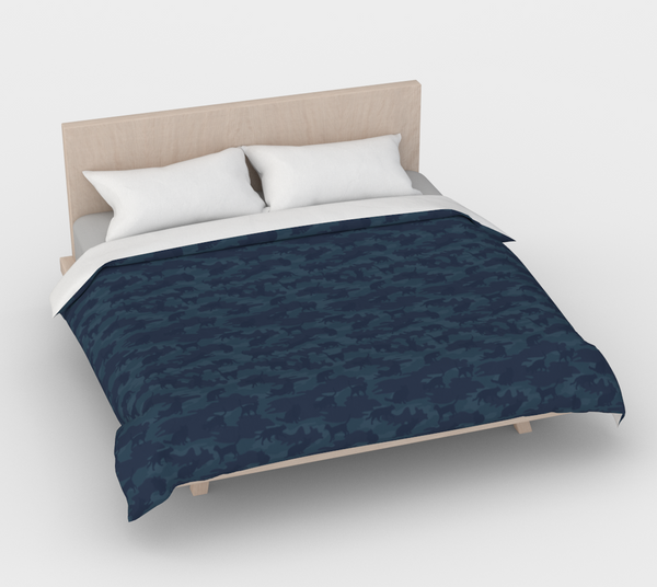 Duvet Cover in Cats Camo, in dark grays, for king size bed.