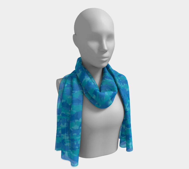 Ocean Camo Scarf long. In blues an aquas. Shown on mannikin.