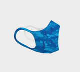 Football poly face mask in blue, right view.